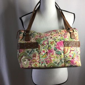 RELIC Floral canvas and leather shoulder bag